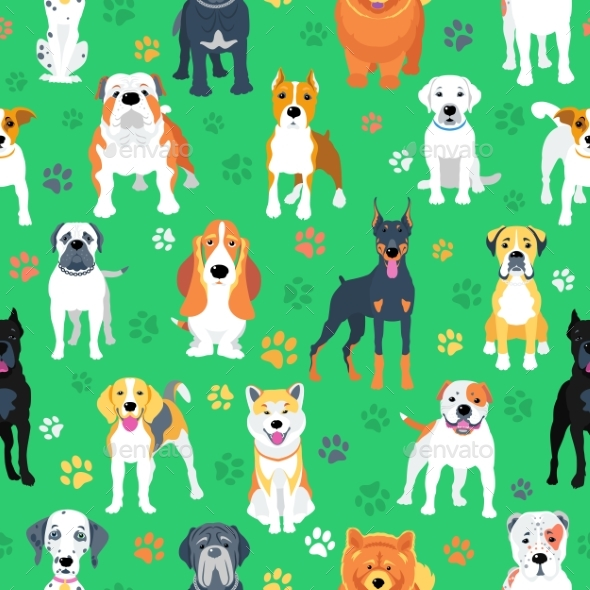 Seamless Pattern with Dogs Flat Design - Animals Characters