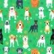 Seamless Pattern with Dogs Flat Design - GraphicRiver Item for Sale