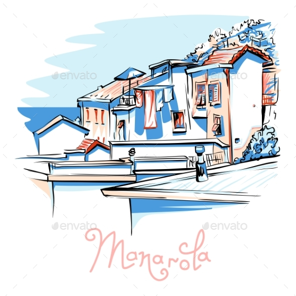 GraphicRiver Vector Colorful Houses in Manarola Ligury Italy 20396463