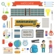 School Student Stationery Supplies Set. Vector - GraphicRiver Item for Sale
