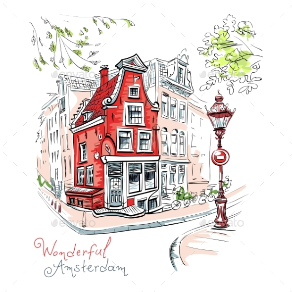 Vector City View of Amsterdam House and Lantern - Buildings Objects