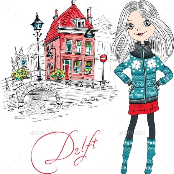 Vector Girl in Delft, Netherlands. - Man-made Objects Objects