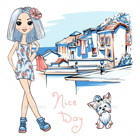 GraphicRiver Fashion Girl in Manarola Italia 20396502