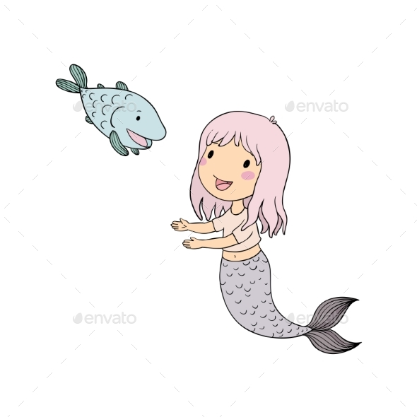 Cartoon Mermaid and Fish. Siren. Sea Theme - People Characters