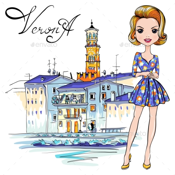 Fashion Girl in in Verona, Italy - People Characters