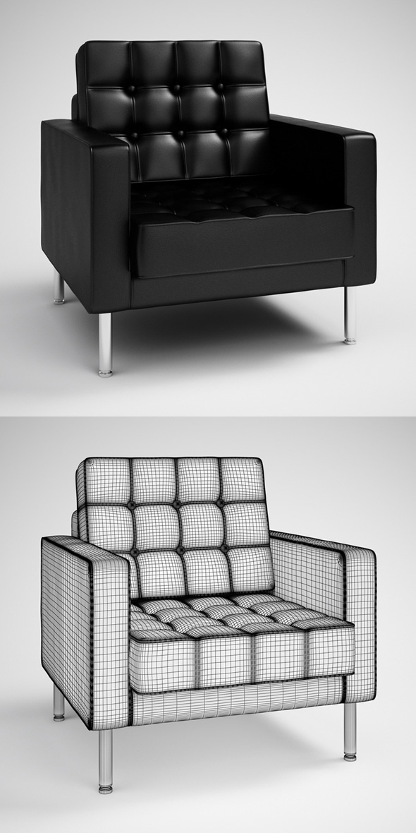 CGAxis Black Modern Armchair 28 - 3DOcean Item for Sale