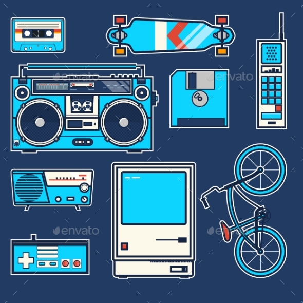 Retro Elements Bicycle, Phone,computer, Diskette - Miscellaneous Vectors