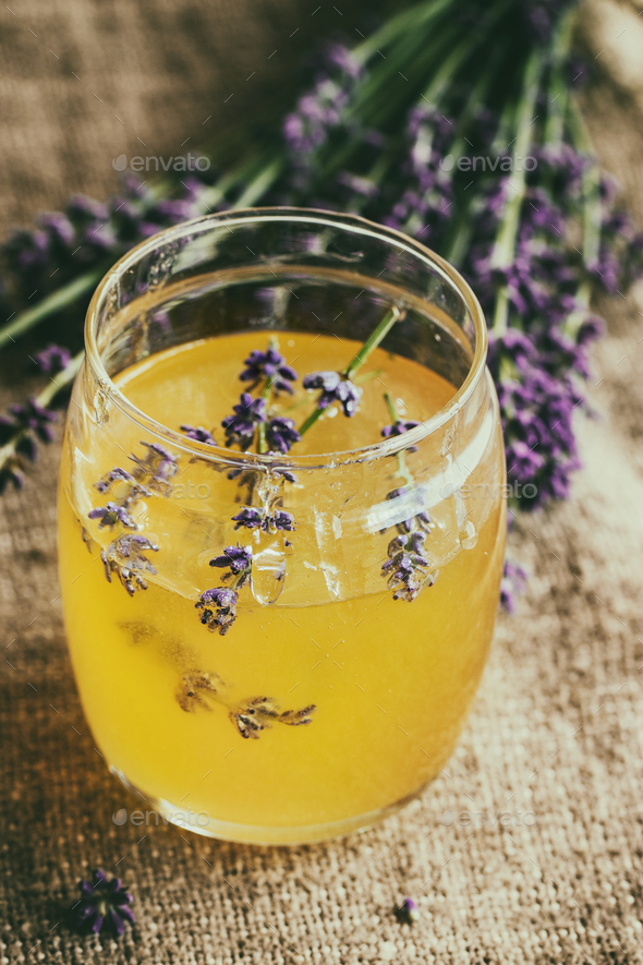 Honey and sugar flavored with lavender - Stock Photo - Images