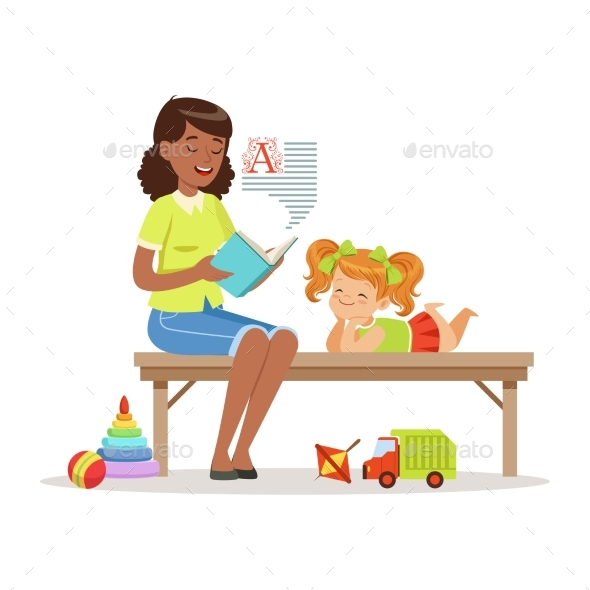 Teacher Reading a Book To Little Girl While - Miscellaneous Vectors