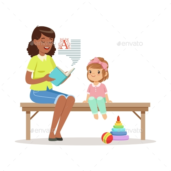 Teacher Reading a Book To Little Girl Sitting - Miscellaneous Vectors