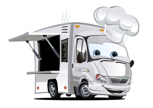 Cartoon Food Truck - Man-made Objects Objects