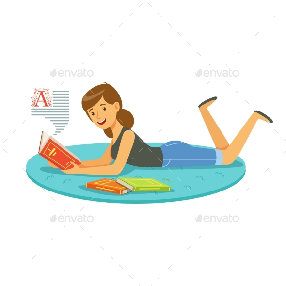 GraphicRiver Woman Reading a Book While Lying 20397091