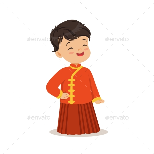 Boy Wearing Red National Costume of China Colorful - People Characters