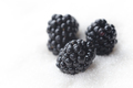 Sweet blackberry isolated over white sugar background.