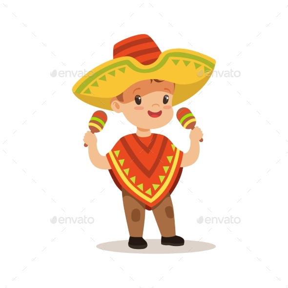 Boy Wearing Poncho and Sombrero, National - People Characters