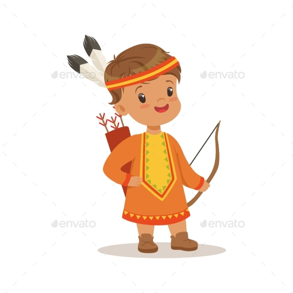 Boy Wearing Native National Costume of American - People Characters