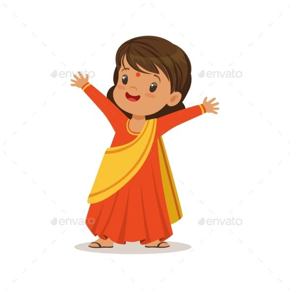 Girl Wearing Sari Dress National Costume of India - People Characters