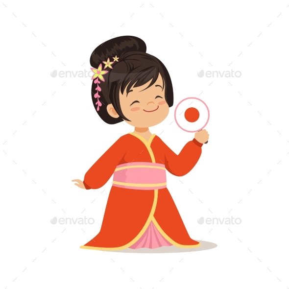 Girl Wearing Red Kimono - People Characters