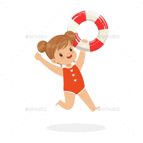 Girl Running with Lifebuoy, Kids Summer - Landscapes Nature