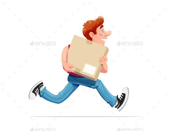 Running Boy Carry Box. Delivery Service. - Vectors