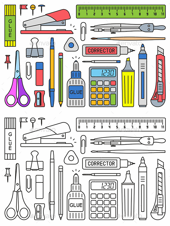 School Supplies Vector - Man-made Objects Objects