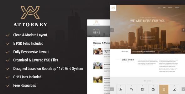 Attorney responsive PSD template