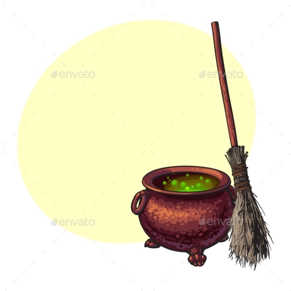 Halloween Symbols - Witch Cauldron with Boiling - Animals Characters