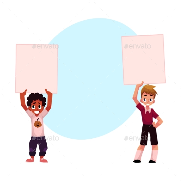 Two Kids Holding Blank Empty Posters, Boards - People Characters