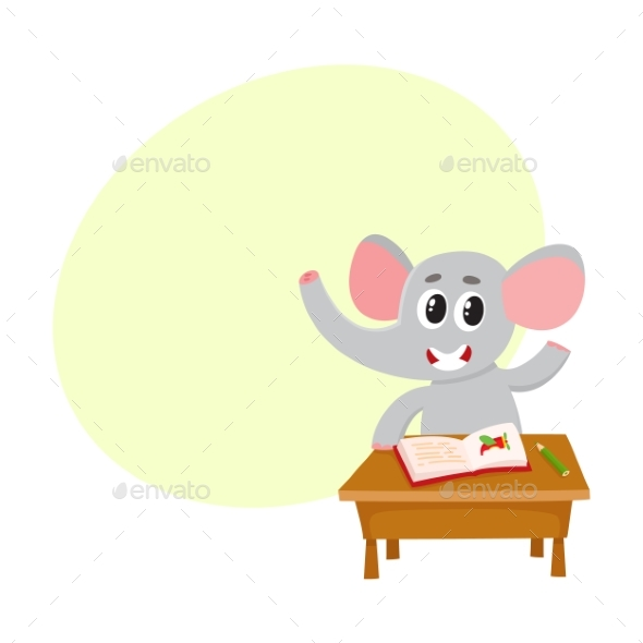 Elephant Student Character Sitting - Animals Characters