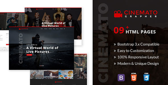 Cinemato Grapher - Multipurpose Html5 Template For CinematoGraphy & PhotoGraphy