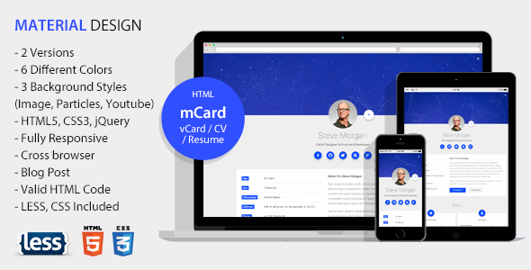 mCard - Material vCard / CV / Resume / Personal Template - Virtual Business Card Personal