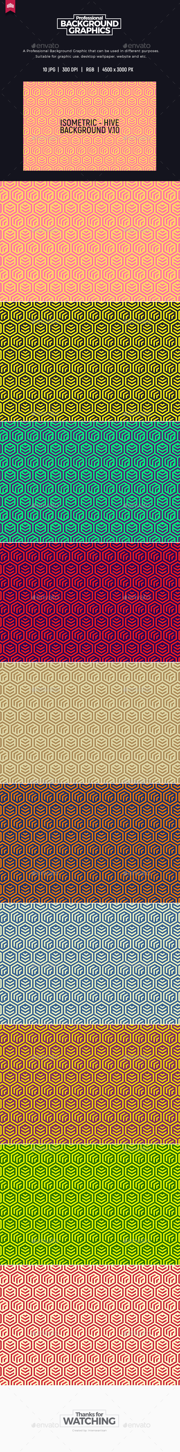 Hive - Isometric Background V.10 - Patterns Backgrounds