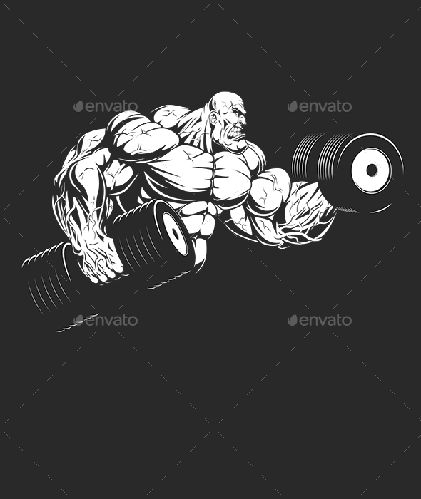 Bodybuilder with Dumbbells - Sports/Activity Conceptual