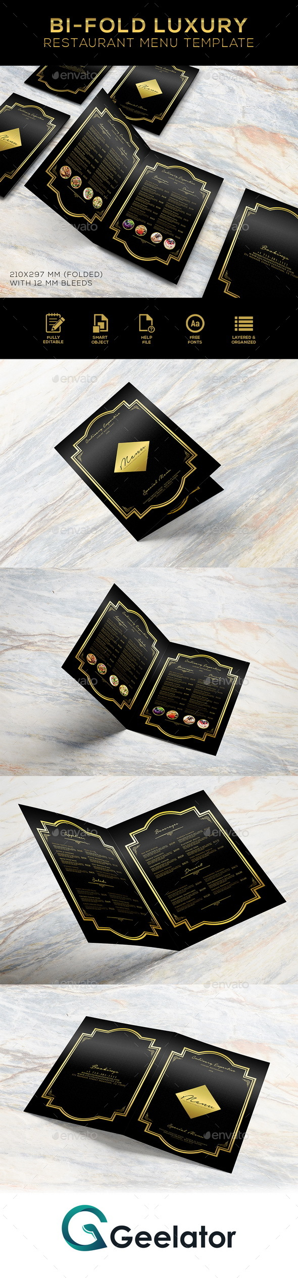 Bi-Fold Luxury Restaurant Menu Template - Food Menus Print Templates