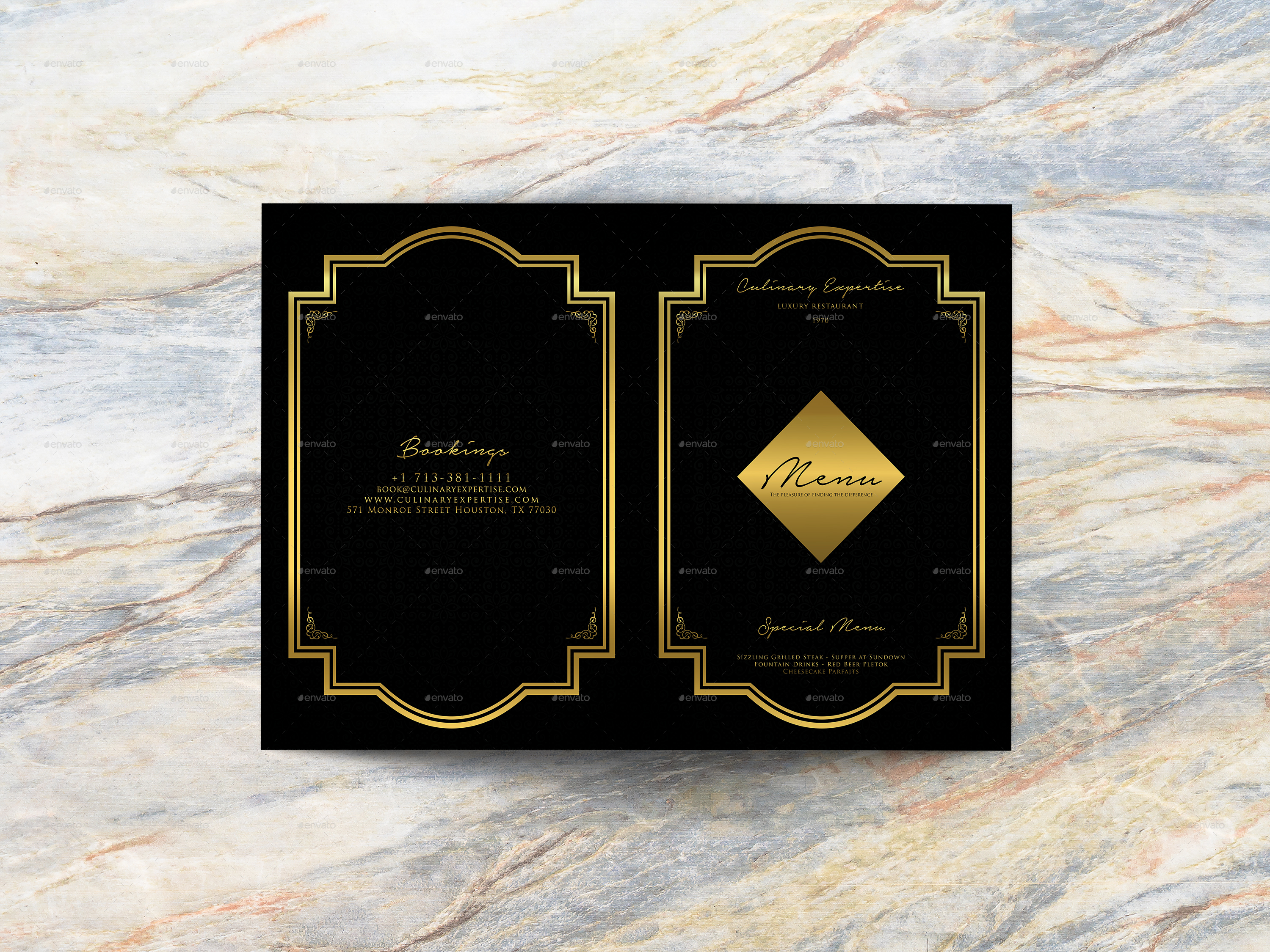 BiFold Luxury Restaurant Menu Template By Geelator GraphicRiver - 3 fold menu template