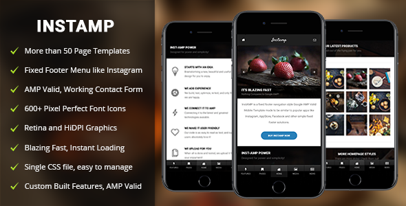 AMP Insta Mobile | Mobile Google AMP Template - Mobile Site Templates
