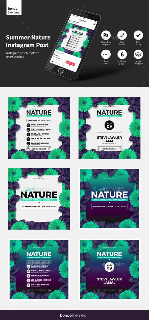 Summer Nature Instagram Post - Social Media Web Elements