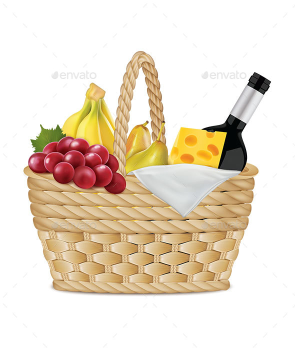 Picnic Basket with Bottle of Wine and Food - Food Objects