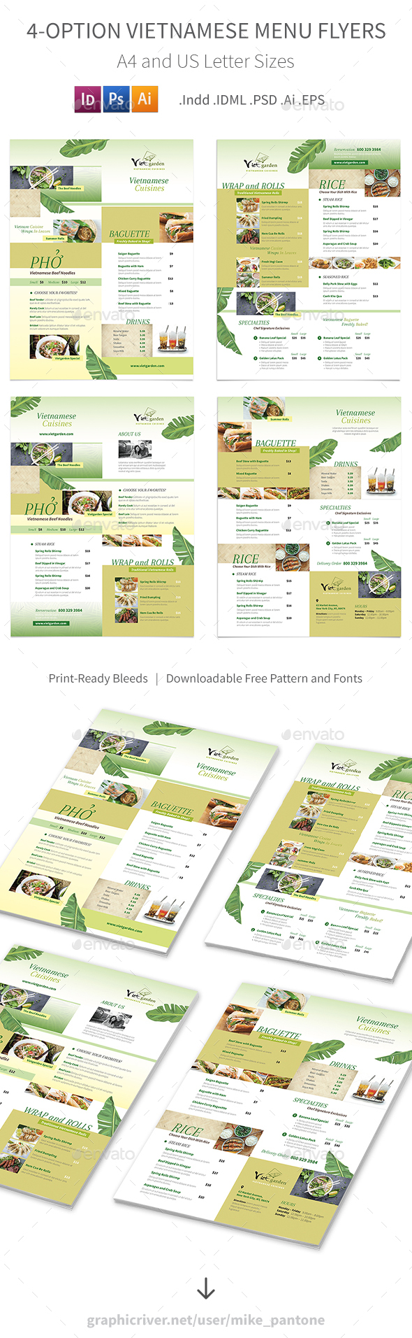 Vietnamese Pho Menu Flyers 3 – 4 Options - Food Menus Print Templates
