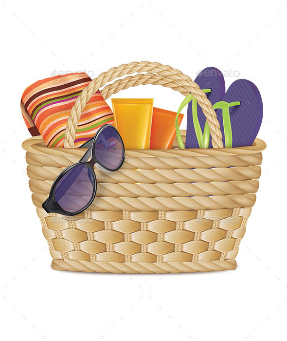 GraphicRiver Beach Basket with Sunglasses Slippers Towel and Tubes of Cream 20398659