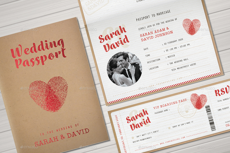 Vintage Passport Wedding Invitation by VectorVactory – Passport Wedding Invites