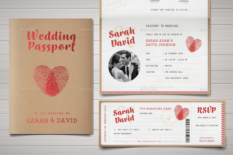 Vintage Passport Wedding Invitation by Vector_Vactory | GraphicRiver