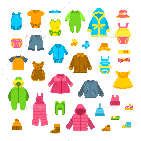 Baby Clothes Flat Illustrations Set - Man-made Objects Objects