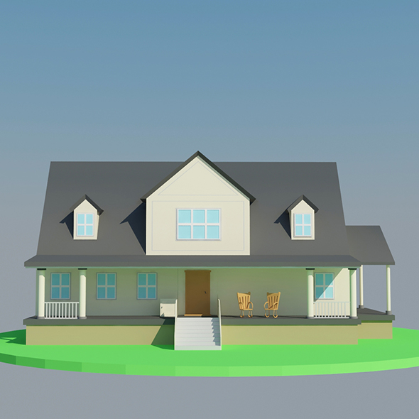 3DOcean Low Poly Big House 20398980