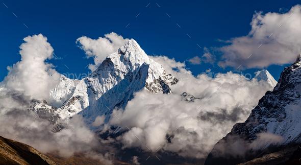 Ama Dablam Mountain in Himalaya Inspirational Landscape, Nepal
