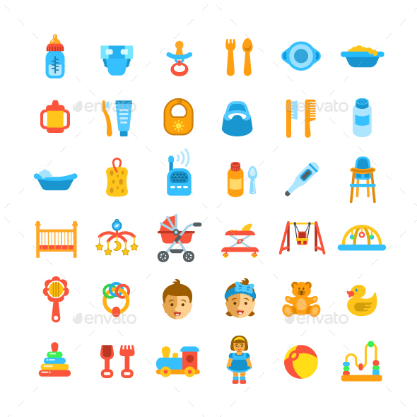 Baby Care Flat Icons - Miscellaneous Vectors