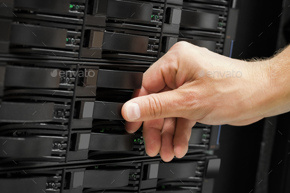 Computer Technician's Hand Replacing Hard Drive In San - Stock Photo - Images