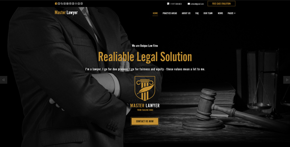 Master Lawyer HTML Bootstrap Template - Corporate Site Templates