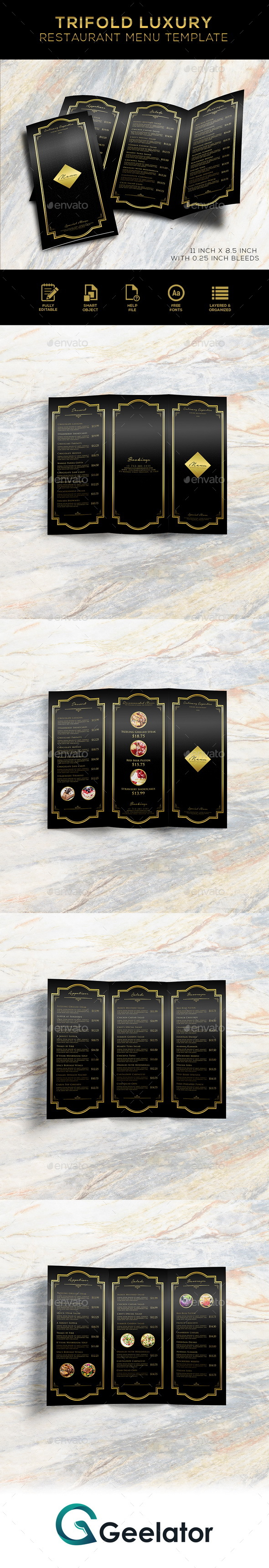 Tri-Fold Luxury Restaurant Menu Template - Food Menus Print Templates