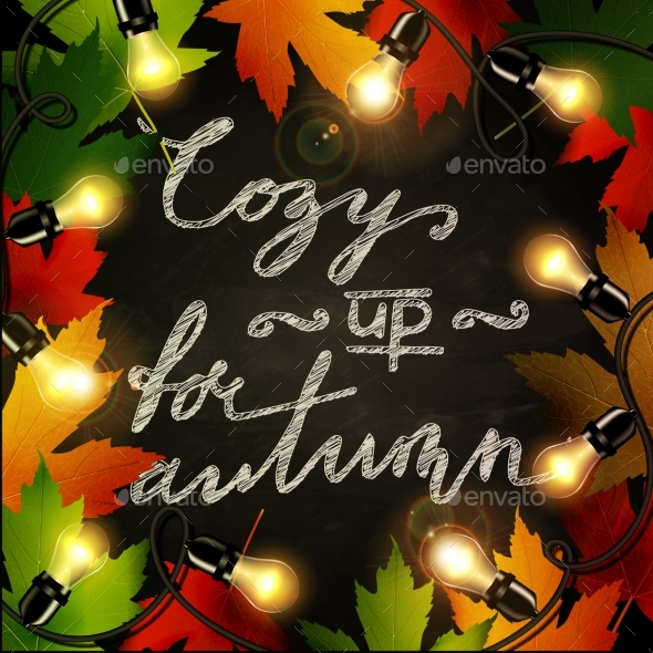 GraphicRiver Frame of Autumn Leaves Painted on Black Chalkboard 20399612